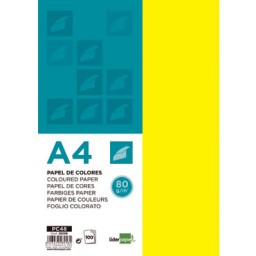 100HJ papel amarillo 80 g/m² Din A-4 Liderpapel 28258